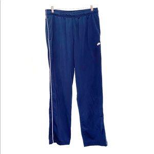 Nike blue white stripe wide leg track pants